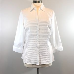 Signature Larry Levine White Fitted Blouse #0346